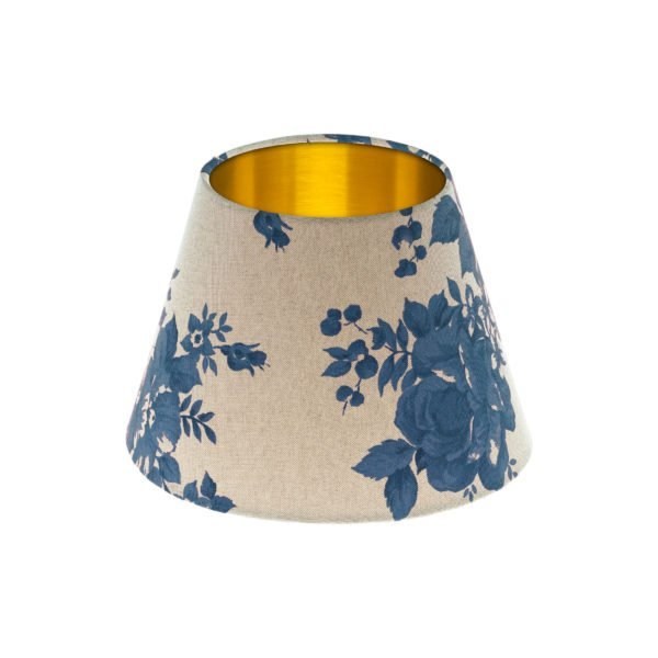 Bright Blue Rose Floral Empire Lampshade Brushed Gold Inner