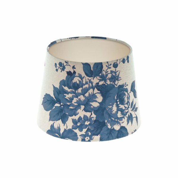 Bright Blue Rose Floral French Drum Lampshade Champagne Inner