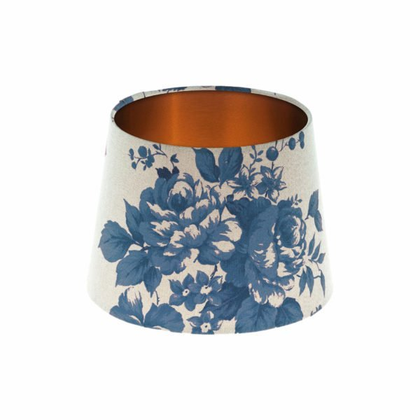 Bright Blue Rose Floral French Drum Lampshade Brushed Copper Inner