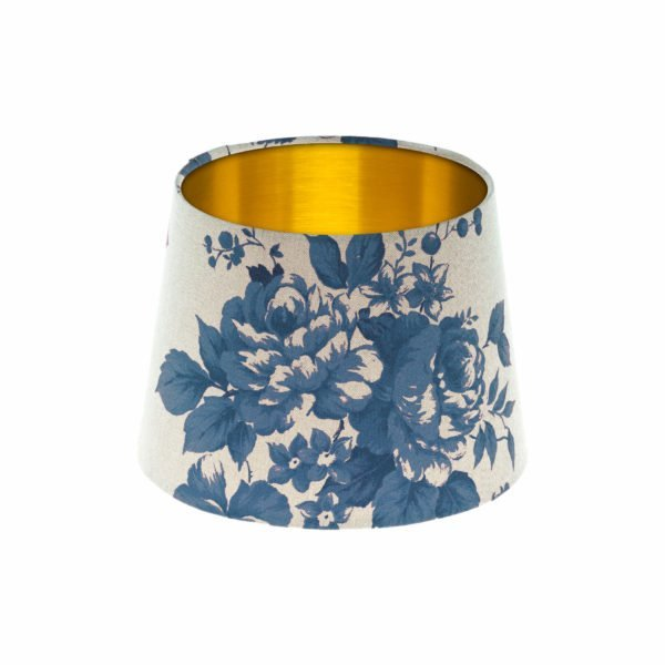 Bright Blue Rose Floral French Drum Lampshade Brushed Gold Inner