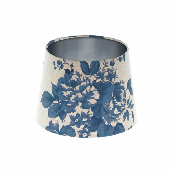 Bright Blue Rose Floral French Drum Lampshade Brushed Silver Inner