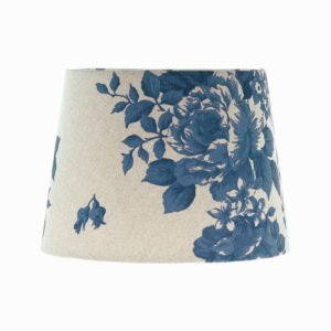 Bright Blue Rose Floral French Drum Lampshade