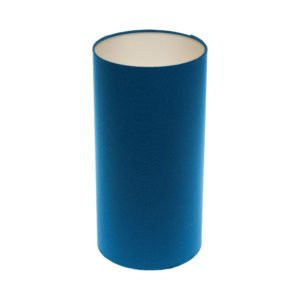 Bright Blue Tall Drum Lampshade Champagne Inner