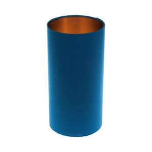 Bright Blue Tall Drum Lampshade Brushed Copper Inner