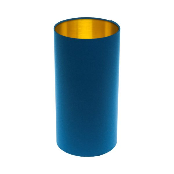 Bright Blue Tall Drum Lampshade Brushed Gold Inner