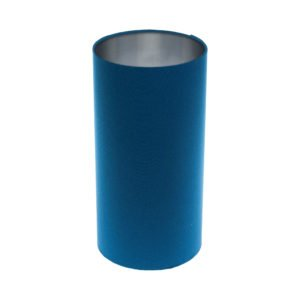 Bright Blue Tall Drum Lampshade Brushed Silver Inner