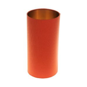 Bright Orange Tall Drum Lampshade Brushed Copper Inner