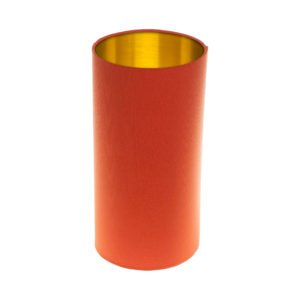 Bright Orange Tall Drum Lampshade Brushed Gold Inner