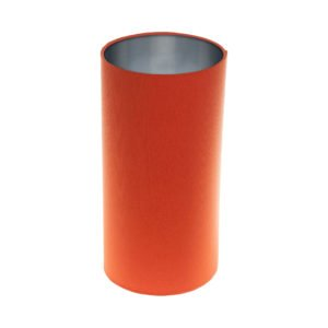 Bright Orange Tall Drum Lampshade Brushed Silver Inner