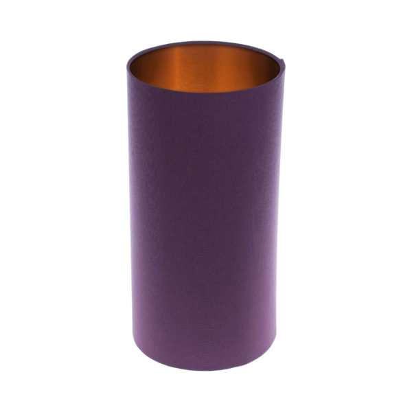 Bright Purple Tall Drum Lampshade Brushed Copper Inner