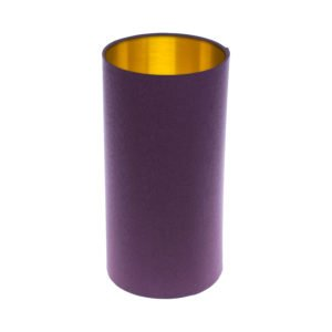 Bright Purple Tall Drum Lampshade Brushed Gold Inner