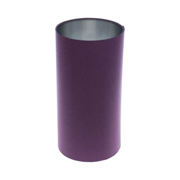 Bright Purple Tall Drum Lampshade Brushed Silver Inner