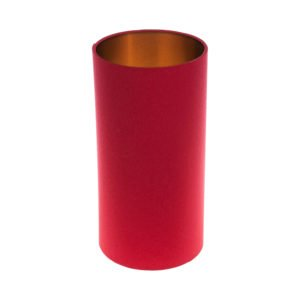 Bright Red Tall Drum Lampshade Brushed Copper Inner