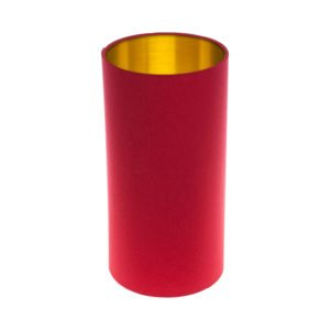 Bright Red Tall Drum Lampshade Brushed Gold Inner