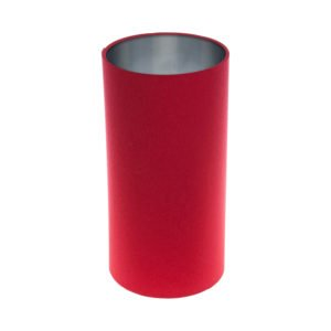 Bright Red Tall Drum Lampshade Brushed Silver Inner