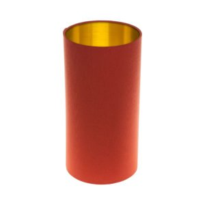 Burnt Orange Tall Drum Lampshade Brushed Gold Inner