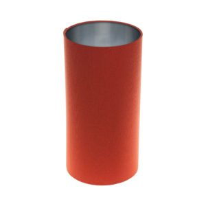 Burnt Orange Tall Drum Lampshade Brushed Silver Inner