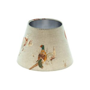 Country Pheasant Empire Lampshade Brushed Silver Inner