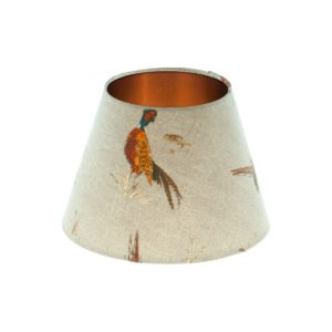 Country Pheasant Empire Lampshade Brushed Copper Inner