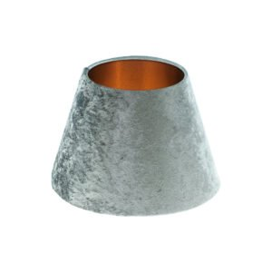 Grey Crushed Velvet Empire Lampshade Brushed Copper Inner