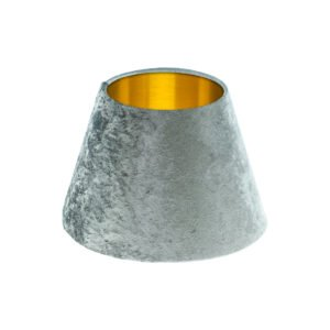 Grey Crushed Velvet Empire Lampshade Brushed Gold Inner