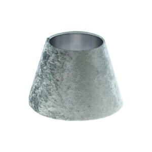 Grey Crushed Velvet Empire Lampshade Brushed Silver Inner