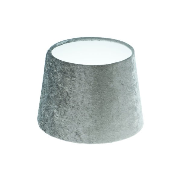Grey Crushed Velvet French Drum Lampshade