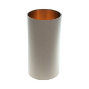 Dark Beige Tall Drum Lampshade Brushed Copper Inner