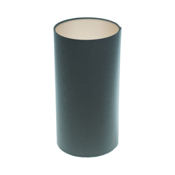 Dark Grey Tall Drum Lampshade Champagne Inner