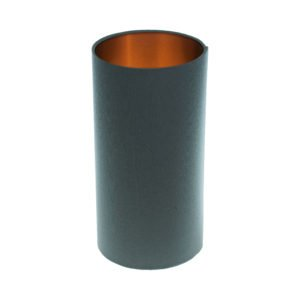 Dark Grey Tall Drum Lampshade Brushed Copper Inner