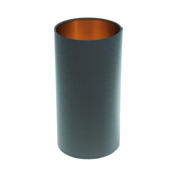 Dark Grey Tall Drum Lampshade Brushed Copper Inner