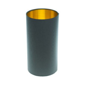 Dark Grey Tall Drum Lampshade Brushed Gold Inner