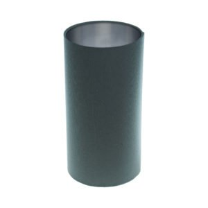 Dark Grey Tall Drum Lampshade Brushed Silver Inner