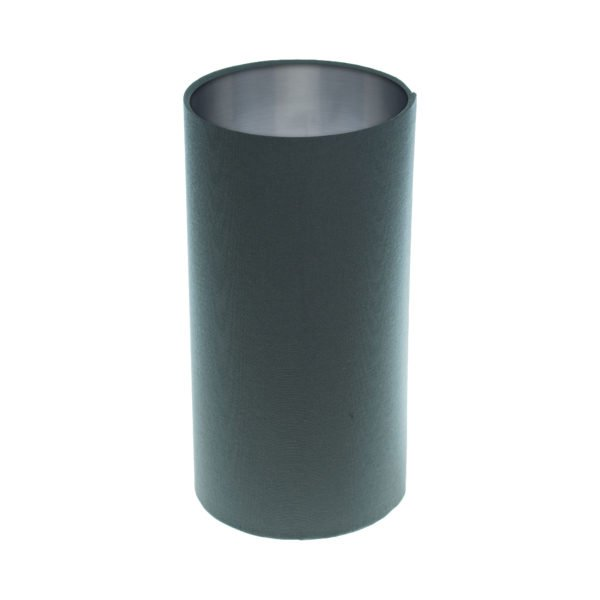 Dark Grey Tall Drum Lampshade Brushed Silver Inner