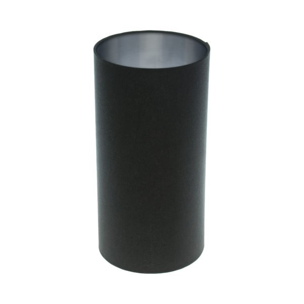 Dark Navy Blue Tall Drum Lampshade Brushed Silver Inner
