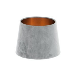 Dove Grey Velvet French Drum Lampshade Brushed Copper Inner