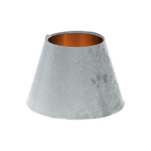 Dove Grey Velvet Empire Lampshade Brushed Copper Inner