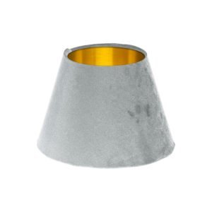 Dove Grey Velvet Empire Lampshade Brushed Gold Inner
