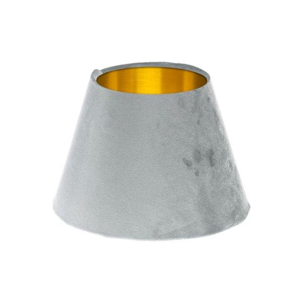 Dove Grey Velvet Empire Lampshade Brushed Gold Inner