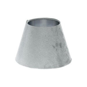 Dove Grey Velvet Empire Lampshade Brushed Silver Inner