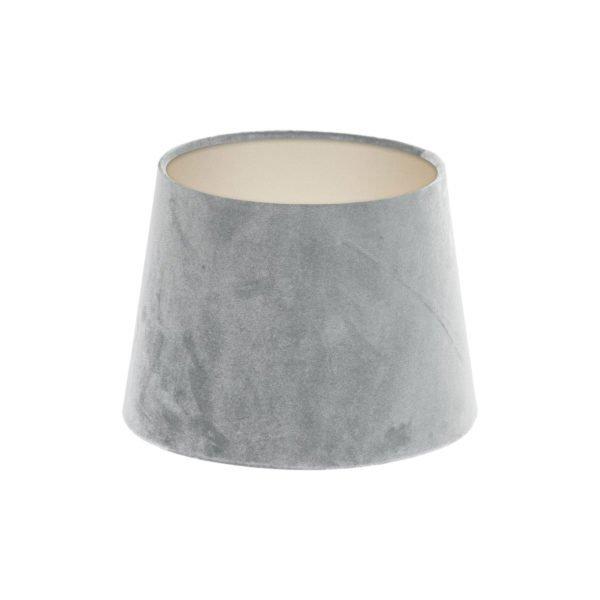 Dove Grey Velvet French Drum Lampshade Champagne Inner