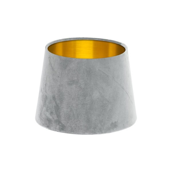 Dove Grey Velvet French Drum Lampshade Brushed Gold Inner