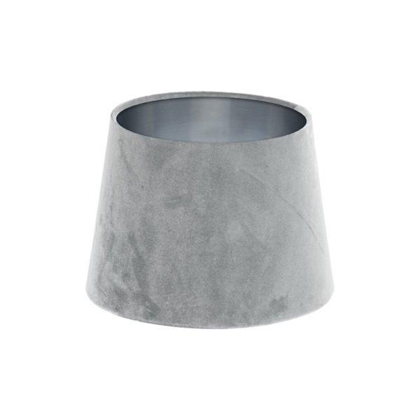 Dove Grey Velvet French Drum Lampshade Brushed Silver Inner
