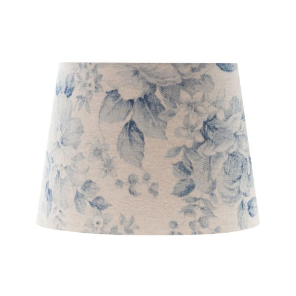 Blue Faded Rose Floral French Drum Lampshade