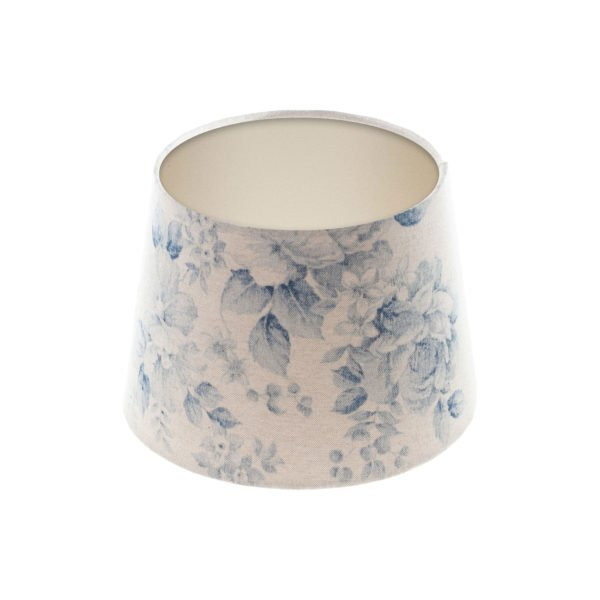 Blue Faded Rose Floral French Drum Lampshade Champagne Inner