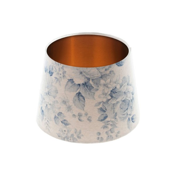 Blue Faded Rose Floral French Drum Lampshade Brushed Copper Inner