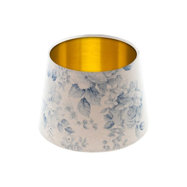Blue Faded Rose Floral French Drum Lampshade Brushed Gold Inner