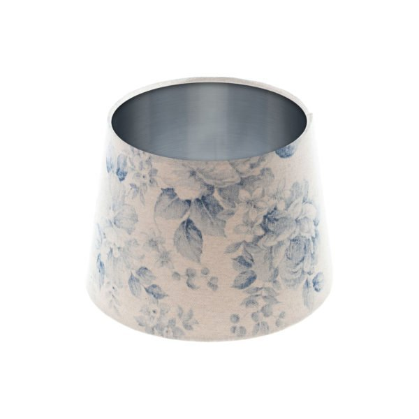 Blue Faded Rose Floral French Drum Lampshade Brushed Silver Inner