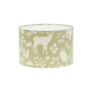 Green Woodland Animals Drum Lampshade