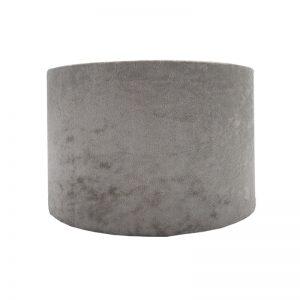 Grey Crushed Velvet Drum Lampshade